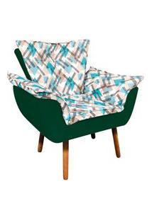 Poltrona Opala Composê Suede Verde Com Estampado Traçado Azul D33 Pés Palito Castanho D'Rossi