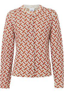 Burberry Cardigan Com Estampa Monogramada - Vermelho