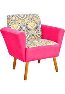 Poltrona Decorativa Dora Estampado D77 Com Suede Rosa Barbie D'Rossi