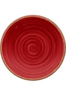 Prato Para Sobremesa Rústico- Vermelho Escuro & Marrom