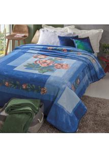 Cobertor Casal Kyor Plus Taormina 1 Peça Microfibra Jolitex Azul