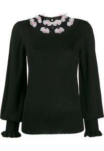 Temperley London Floral Embroidered Fine Knit Sweater - Preto