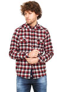Camisa Gangster Reta Xadrez Vermelha/Branca
