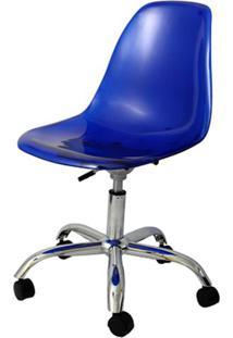 Cadeira Eames Com Rodizio Policarbonato Azul - 19295 - Sun House
