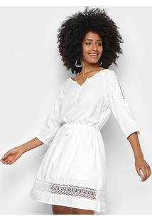 Vestido Pérola Evasê Guipir - Feminino-Branco