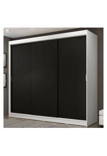 Guarda-Roupa Casal Madesa Kansas 3 Portas De Correr 3 Gavetas Branco/Preto Cor:Branco/Preto