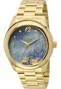 Relógio Condor Feminino Denim - Dourado Co2039Ad/4A