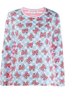 Comme Des Garçons Girl Blusa Minnie Mouse Listrada X Disney - Azul