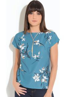 Blusa Quintess Orquídeas Com Mangas Curtas