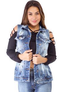 ... Colete Jeans Degrant Destroyed Reto Com Spikes Azul d4e376237ab4e