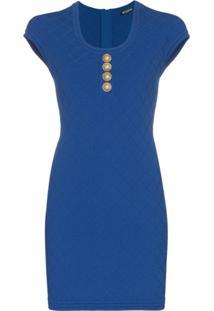 Balmain Vestido De Tricô - Azul