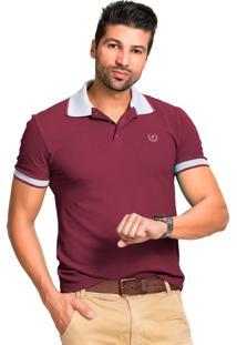 Camisa Polo Tony Menswear Confort Vinho/Cinza