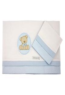 Lençol De Mini Berço Malha - Minha Casa Baby - Urso Bolacha Azul