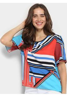 Blusa Colcci Estampa Multi Color Manga Curta Feminina - Feminino-Rosa Escuro+Azul Claro