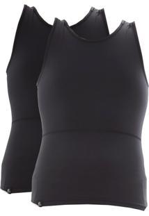 Kit Com 02 Cintas Modeladora E Postural Alta Compressão Bodyshaper - Slim Fitness Preto