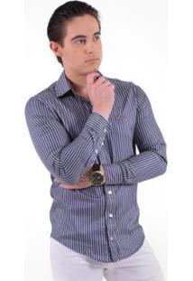 Camisa Social Listrada Masculina - Slim - Masculino-Azul