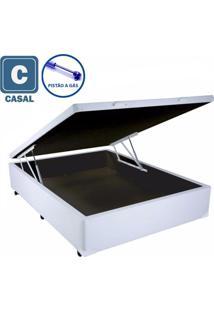 Cama Box Baú Casal Branco Com Pistão A Gás - 138X188