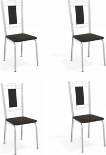 Conjunto Com 4 Cadeiras De Cozinha Florença Cromado E Preto