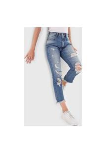 Calça Jeans Open Style Slim Carol Azul