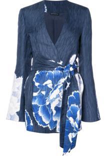 Josie Natori Blazer Com Cinto - Azul