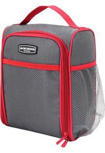 Bolsa Térmica Com Bolso Lateral- Cinza Escuro Vermelhajacki Design