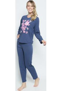 Pijama Gatinhos- Azul Marinho & Rosa- Zulaizulai
