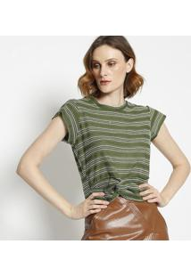 Blusa Bordada Com Nã³- Verde & Off Whitela Chocolãª
