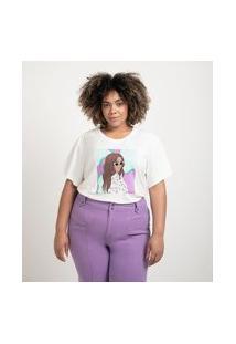 Blusa Manga Curta Em Algodão Estampa Girls Óculos Curve & Plus Size | Ashua Curve E Plus Size | Branco | G
