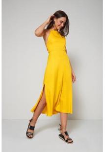 Vestido Oh, Boy! Midi Tira Costas Energia - Feminino-Amarelo