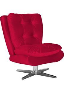Poltrona Decorativa Tolucci Suede Vermelho Com Base Giratória Em Aço Cromado - D'Rossi