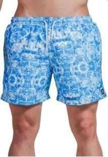 Short Verão Impermanence Estampa Gelo Ice Blu Masculino - Masculino-Azul