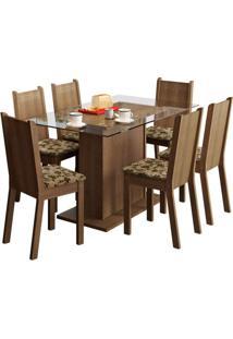 Conjunto De Mesa Com 6 Cadeiras Gales Rustic E Bege