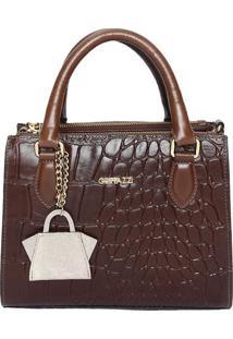 Bolsa Em Couro Snake Com Bag Charm- Marrom- 21X26X9Cgriffazzi