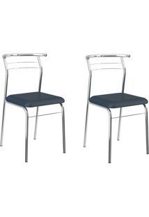 Kit 2 Cadeiras 1708 Azul Noturno/Cromado - Carraro Móveis
