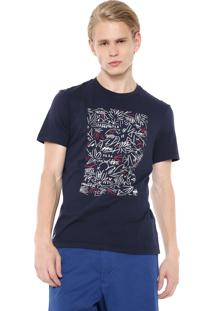 Camiseta Lacoste Estampada Azul-Marinho