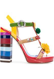 Dolce & Gabbana Sandália Com Bordafo Floral - Vermelho