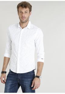 Camisa Masculina Slim Estampada De Folhagem Manga Longa Branca