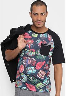 Camiseta Cavalera Raglan Bolso Full Print Masculina - Masculino