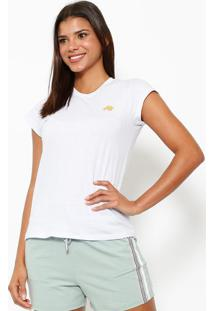 Camiseta Com Logo Da Marca- Branca & Douradaclub Polo Collection