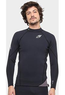 Camisa Surf Mormaii Neoprene Snap 1.0 Mm Masculina - Masculino-Preto+Chumbo