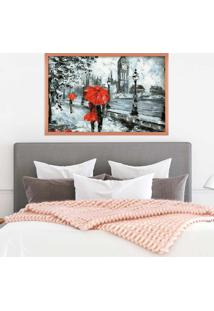 Quadro Love Decor Com Moldura London Red Rose Metalizado Grande