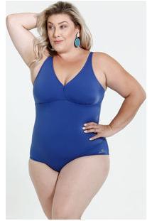 Maiô Feminino Plus Size Zero Barriga Proteção Uv 50 Banho De Mar