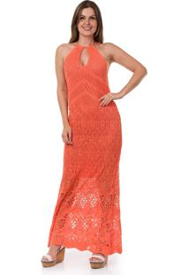 6bcf4827 ... Vestido Pink Tricot Longo Frente Única Coral