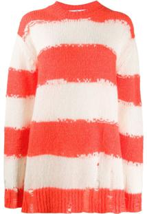 Acne Studios Distressed Striped Jumper - Laranja