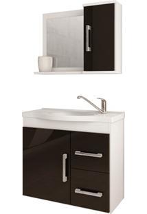 Gabinete Suspenso Para Banheiro Vix 56,5X63,5Cm Branco E Preto