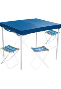 Mesa Compacta Prática Com 4 Banquetas Tipo Maleta - Mor 003403 Azul