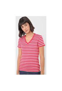 Camiseta Tommy Hilfiger Listrada Vermelha