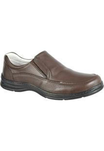 Sapato Confort Plus Em Couro Bmbrasil Liso 2711 - Masculino-Marrom