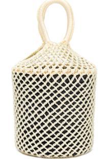 Sensi Studio Net Woven Bucket Tote - Branco