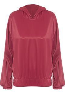 Blusa Feminina Crepe Com Capuz - Vermelho